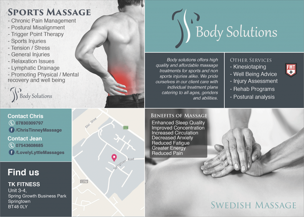 Body Solutions A5 promotional flyer